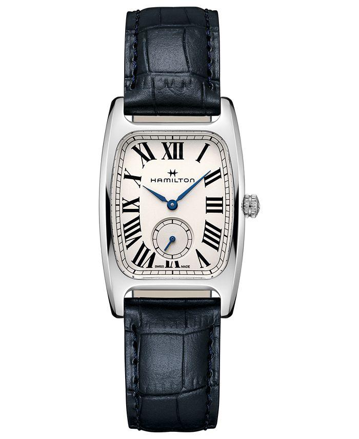Hamilton - Women's Swiss Boulton Blue Leather Strap Watch 27.3x31.1mm
