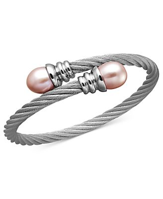 Stainless Steel Bracelet, Pink Cultured Freshwater Pearl Bangle (10-11mm)