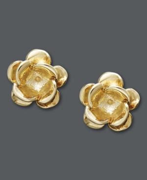 14k Gold Earrings, Flower Stud Earrings