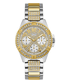GUESS Two-tone Stainless Steel Bracelet Strap With Crystal Detail Watch 40MM, Created for Macy's