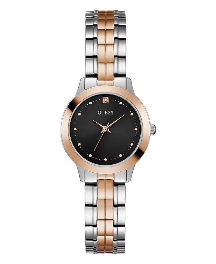 GUESS - This two-tone beauty is a standout timepiece featuring a chic black dial and bracelet strap in both silver and rose gold watch. Created for Macy's