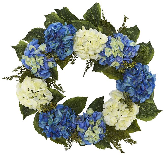 "Nearly Natural 24"" Hydrangea Blue & White Wreath"