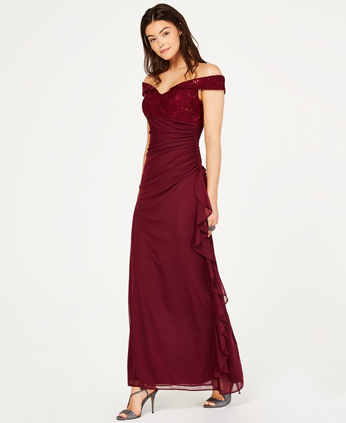 Betsy & Adam - Petite Lace Off-The-Shoulder Gown