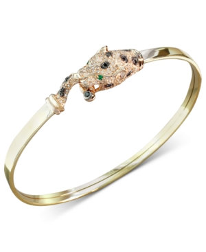 Effy Signature White and Black Diamond (5/8 ct. t.w.) and Emerald Accent Panther Bracelet in 14k Gold and Rose Gold
