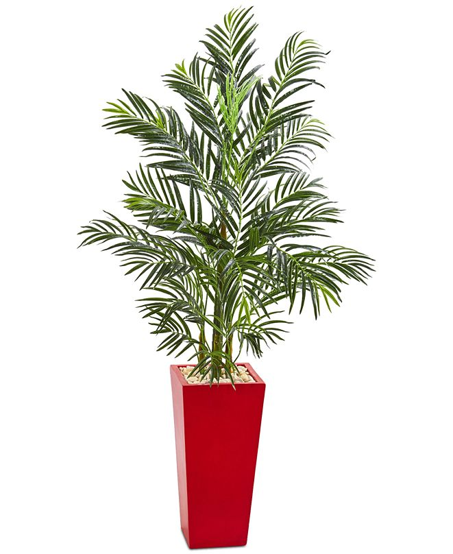Nearly Natural 5' Areca Palm Artificial Tree in Red Planter