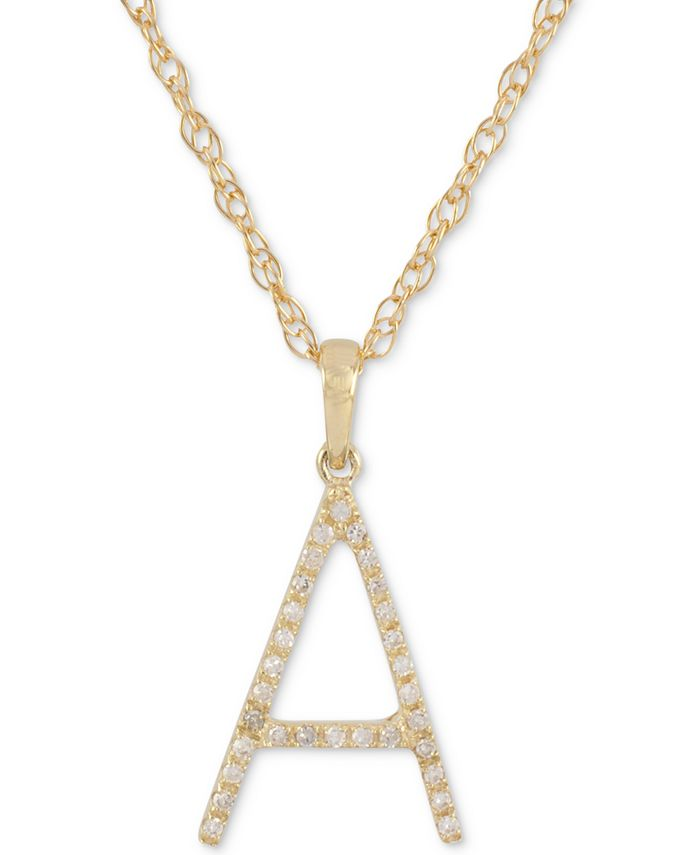 """Macy's - Diamond (1/10 ct. t.w.) Initial Pendant Necklace in 10k Gold, 16"""" + 2"""" extender"""