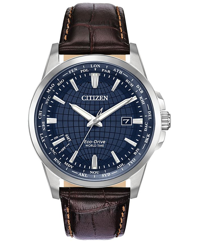Citizen - Men's World Time Brown Leather Strap Watch 41mm