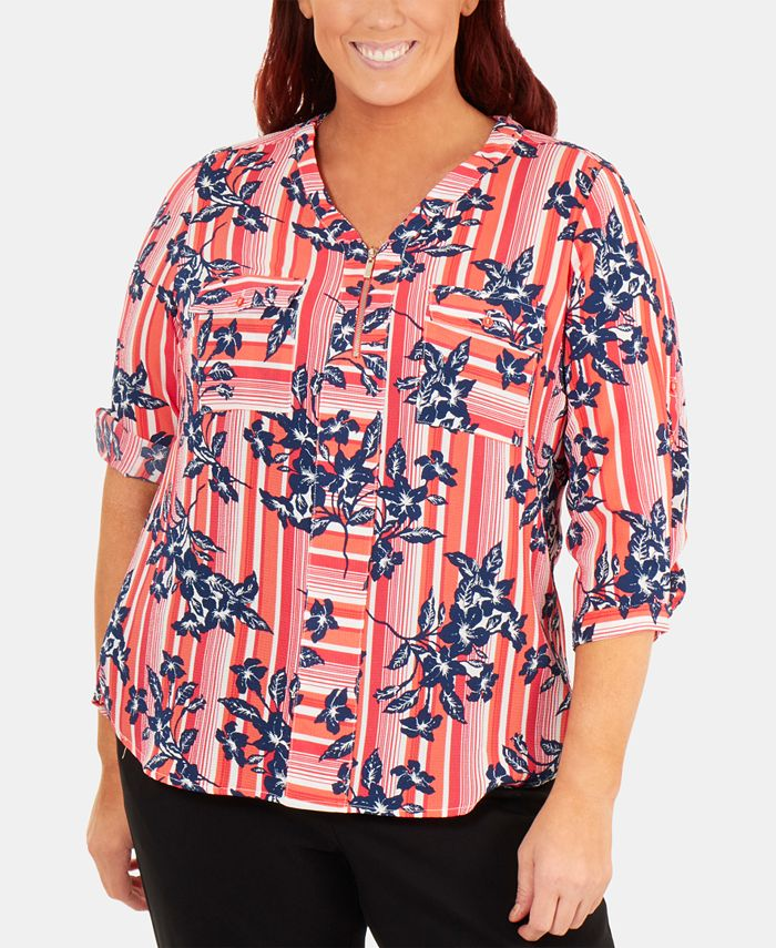 NY Collection - Plus Size Floral-Print Zip Blouse