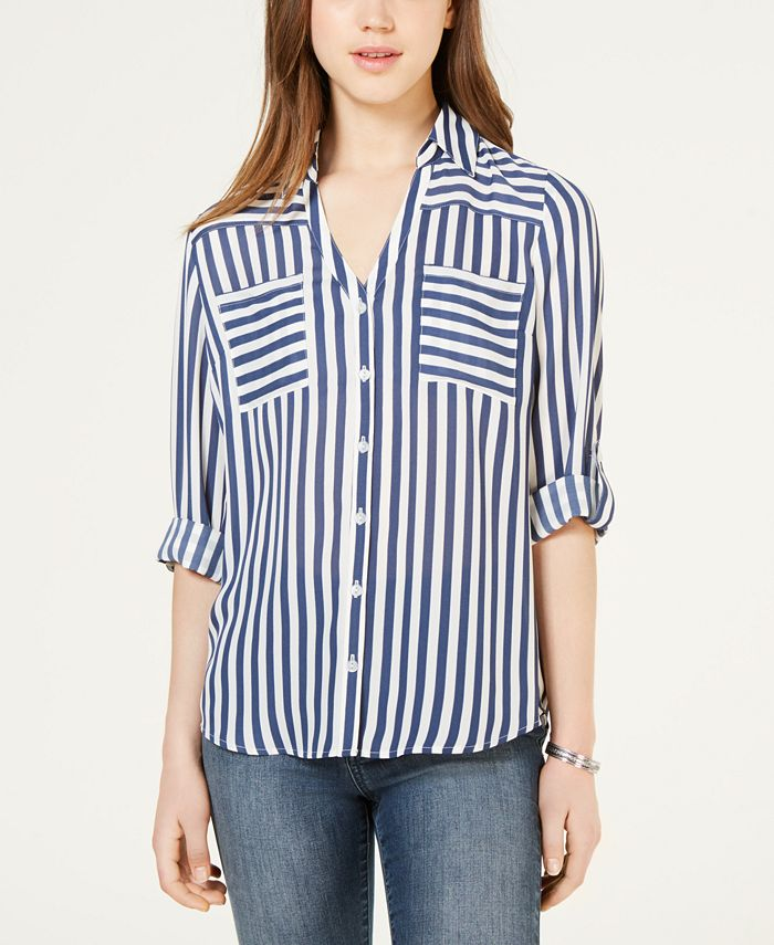 BCX - Juniors' Striped Button-Up Shirt