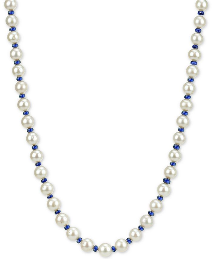 """Macy's - Cultured Freshwater Pearl (8mm) and Sapphire (28-1/2 ct. t.w.) Necklace in 14k Gold, 18"""""""