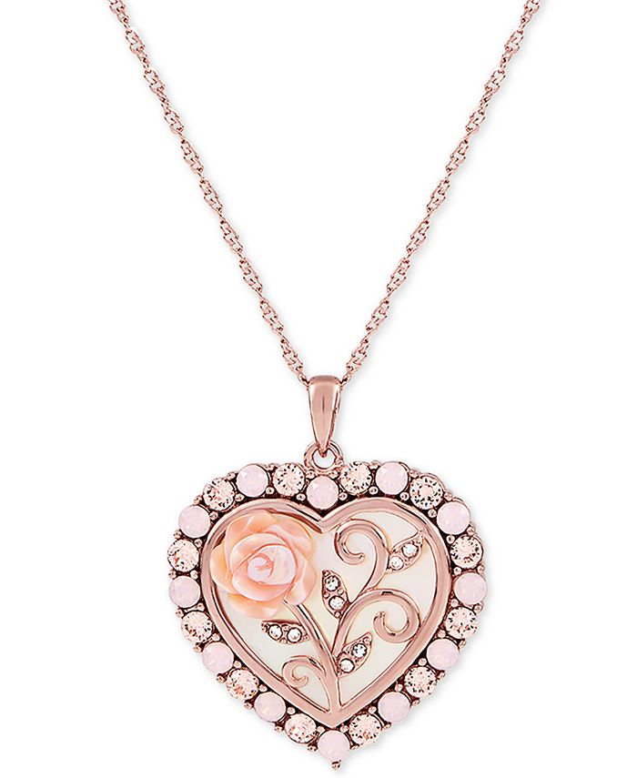 """Macy's - Mother of Pearl (16mm) Rose Cameo 18"""" Necklace in 18k Rose Gold over Sterling Silver"""