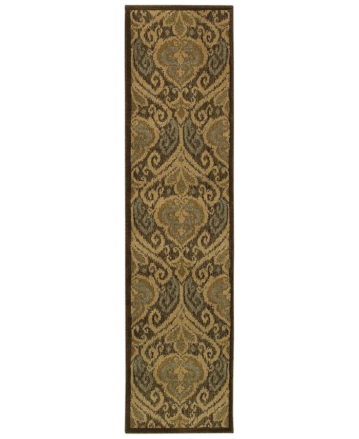 "Oriental Weavers - Casablanca 4464A Green/Ivory 1'10"" x 7'6"" Runner Area Rug"
