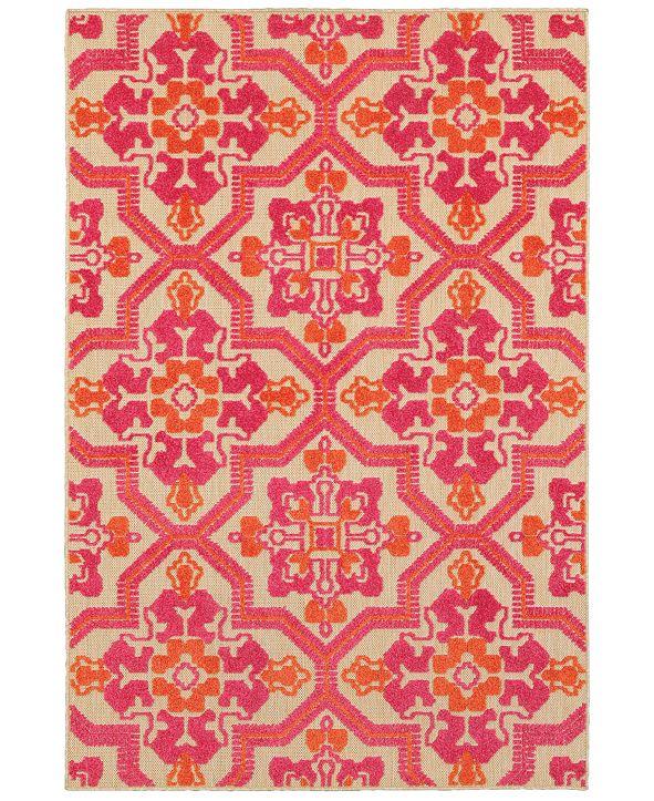"""Oriental Weavers Cayman 2541V Sand/Pink 3'10"""" x 5'5"""" Indoor/Outdoor Area Rug"""