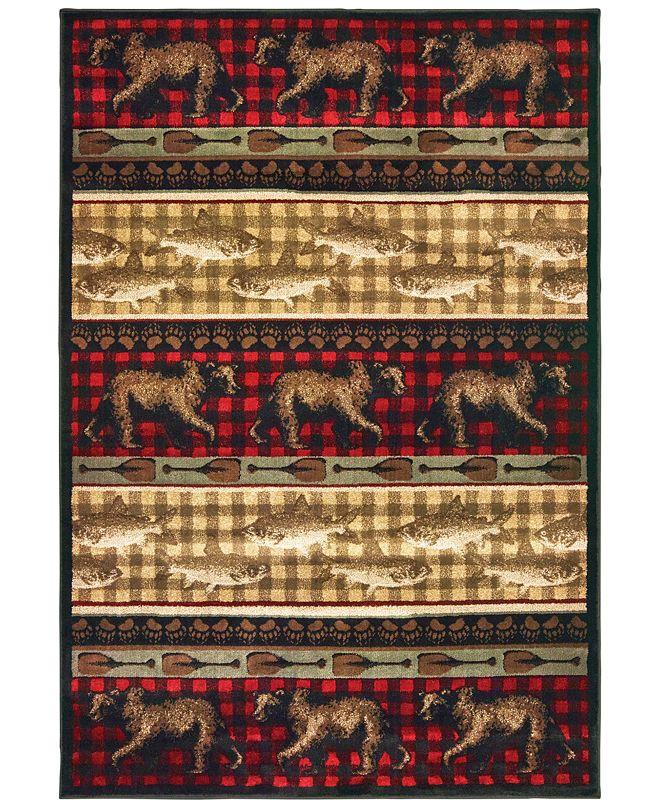 "Oriental Weavers Woodlands 9594B Red/Multi 3'10"" x 5'5"" Area Rug"