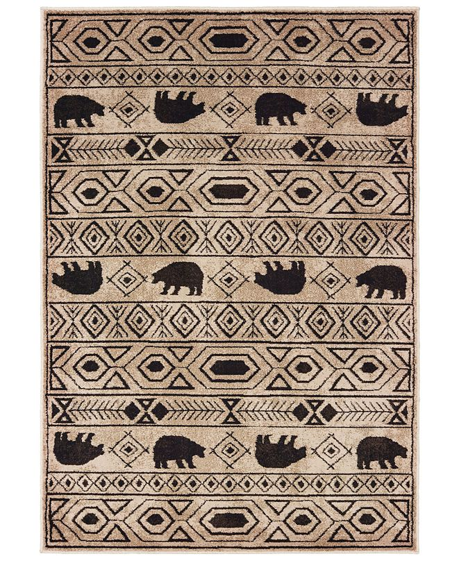 "Oriental Weavers Woodlands 9651A Ivory/Black 9'10"" x 12'10"" Area Rug"