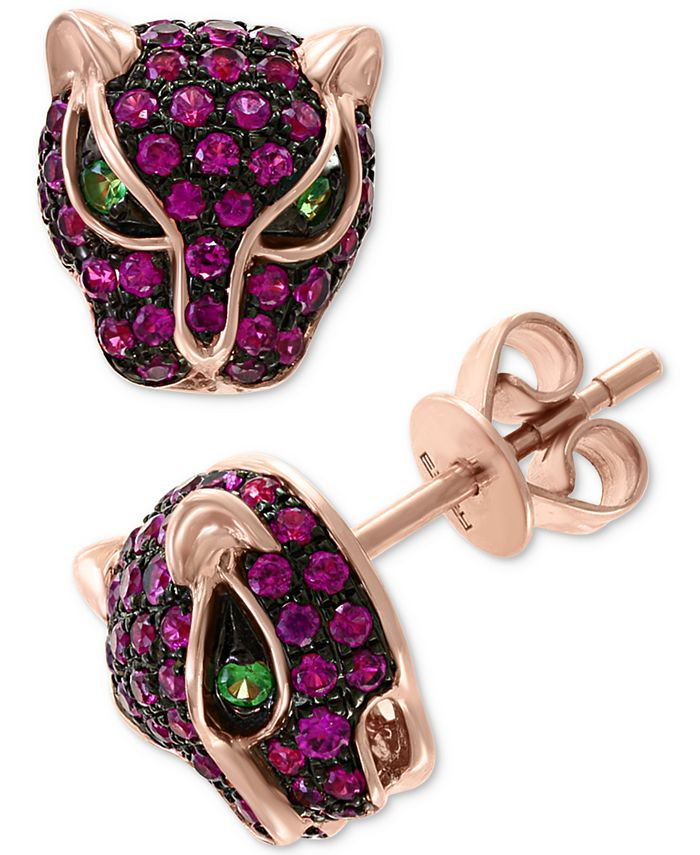 EFFY Collection - Certified Ruby (3/4 ct. t.w.) and Tsavorite Accent Panther Stud Earrings in 14k Rose Gold