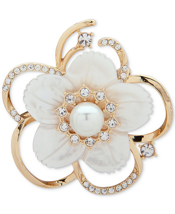 Anne Klein - Gold-Tone Imitation Pearl, Mother-of-Pearl & Crystal Flower Pin