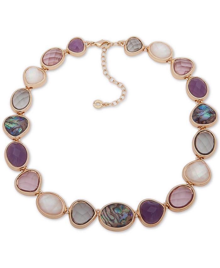 "Anne Klein - Gold-Tone Multi-Stone Collar Necklace, 16"" + 3"" extender"
