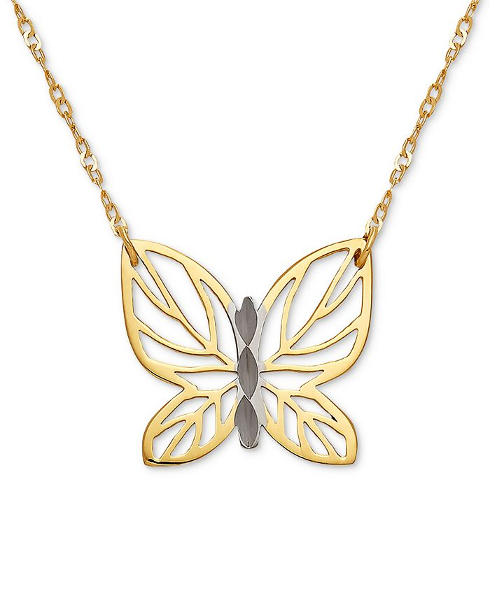 """Italian Gold - Butterfly 17"""" Pendant Necklace in 10k Gold"""