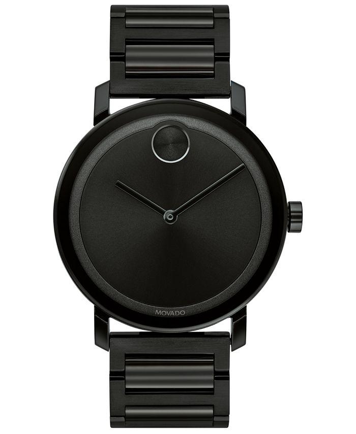Movado - Men's Swiss BOLD Black Stainless Steel Bracelet Watch 40mm