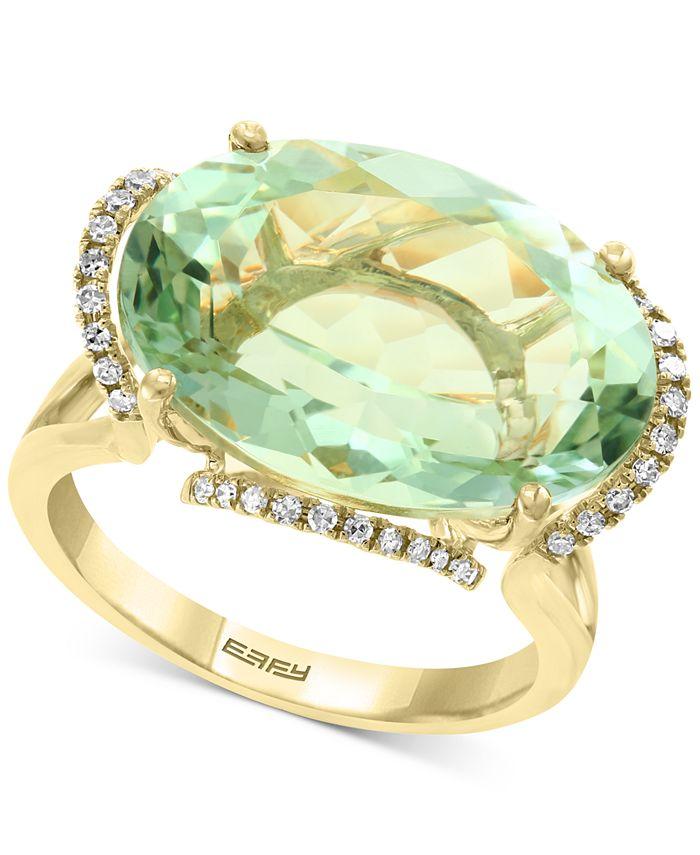 EFFY Collection - Green Quartz (12-7/8 ct. t.w.) & Diamond (1/8 ct. t.w.) Statement Ring in 14k Gold