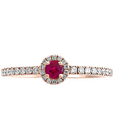 EFFY® Certified Ruby (1/8 ct. t.w.) & Diamond (1/5 ct. t.w.) Ring in 14k Rose Gold