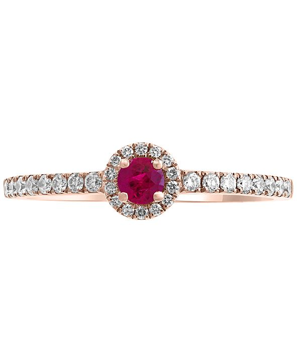 EFFY Collection EFFY® Certified Ruby (1/8 ct. t.w.) & Diamond (1/5 ct. t.w.) Ring in 14k Rose Gold