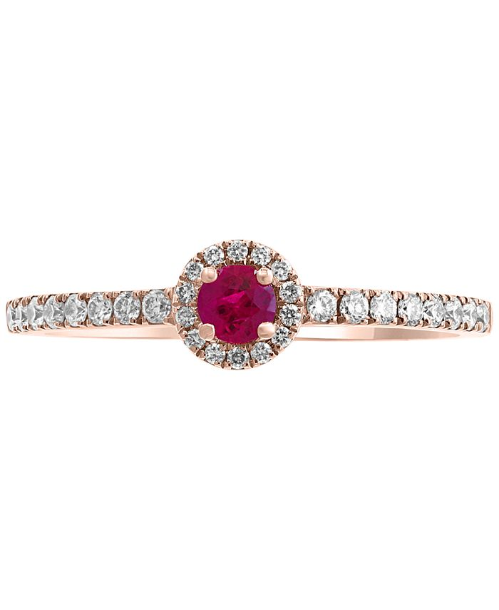 EFFY Collection - Certified Ruby (1/8 ct. t.w.) & Diamond (1/5 ct. t.w.) Ring in 14k Rose Gold
