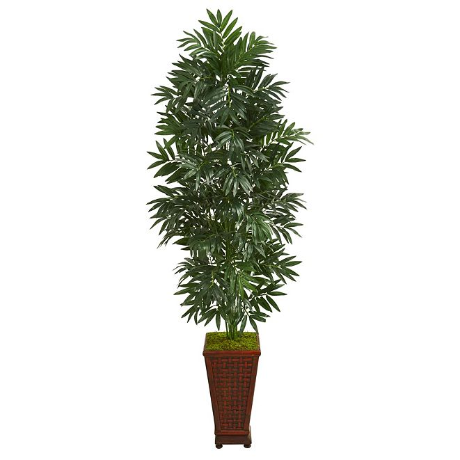 Nearly Natural 5.5' Bamboo Palm Artificial Plant in Decorative Planter