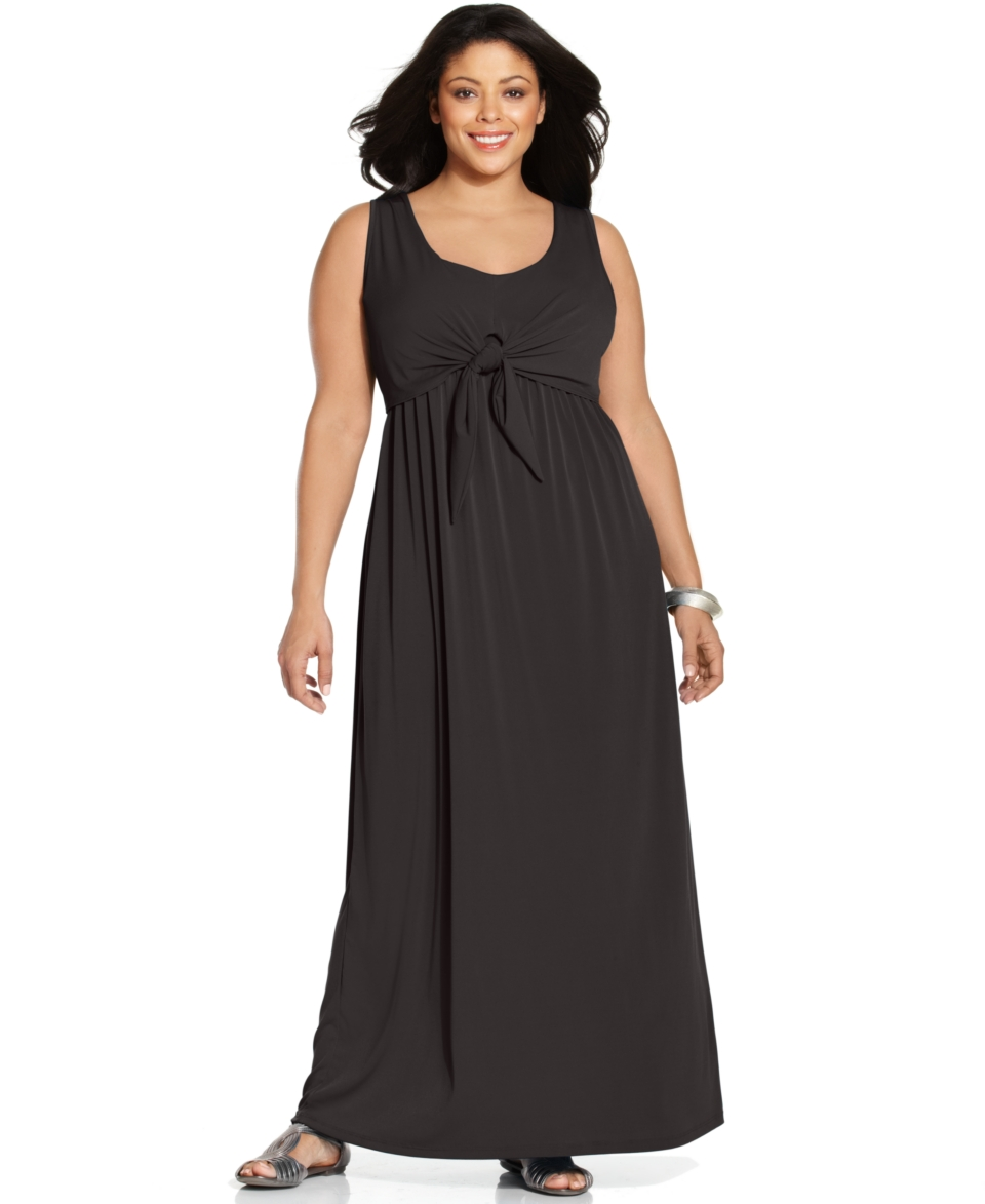NY Collection Plus Size Dress, Sleeveless Tie Front Maxi