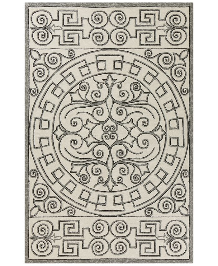 "Kas - Harbor Irongate 4246 Ivory/Grey 7'6"" x 9'6"" Indoor/Outdoor Area Rug"