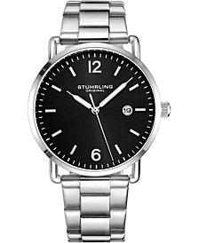 Stuhrling Original Men's Silver Case and Bracelet, Black Dial Watch