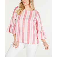 Deals on Charter Club Plus Size Linen Striped Top