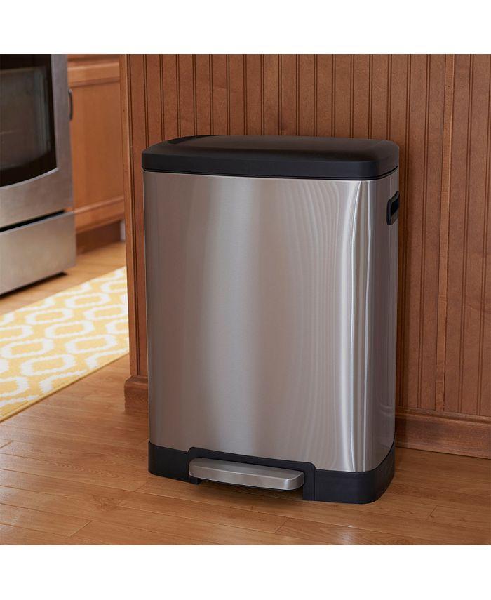 Household Essentials - Stainless Steel 50L Step Trash Bin