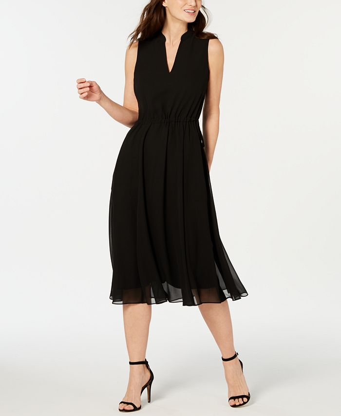 Anne Klein - Chiffon Drawstring-Waist Dress