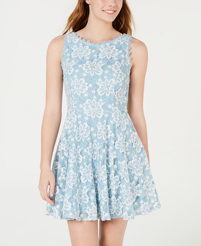 City Studios - Juniors' Floral Lace A-Line Dress
