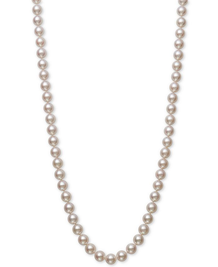 "Belle de Mer - Cultured Akoya Pearl (7-7-1/2mm) 18"" Strand Necklace in 14k Gold"