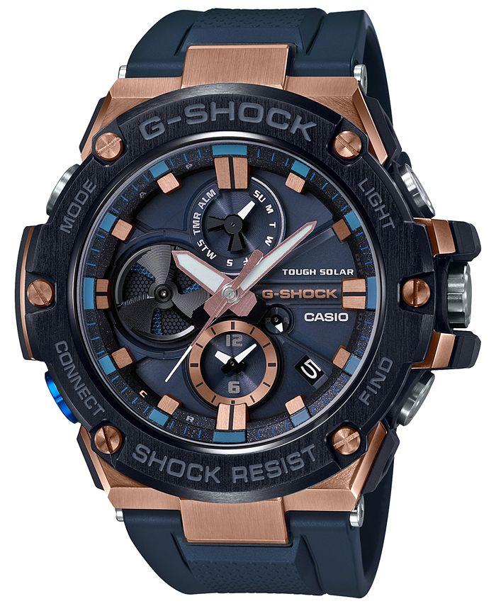 G-Shock - Men's Solar G-Steel Connected Navy Resin Strap Watch 53.8mm