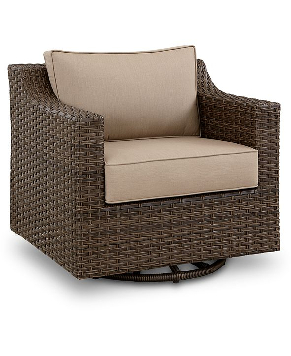 Furniture Camden Wicker Outdoor Swivel Chair, Created for Macy's