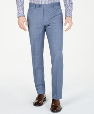 Men's Classic-Fit Airsoft Stretch Light Blue Windowpane Wool Suit Pants
