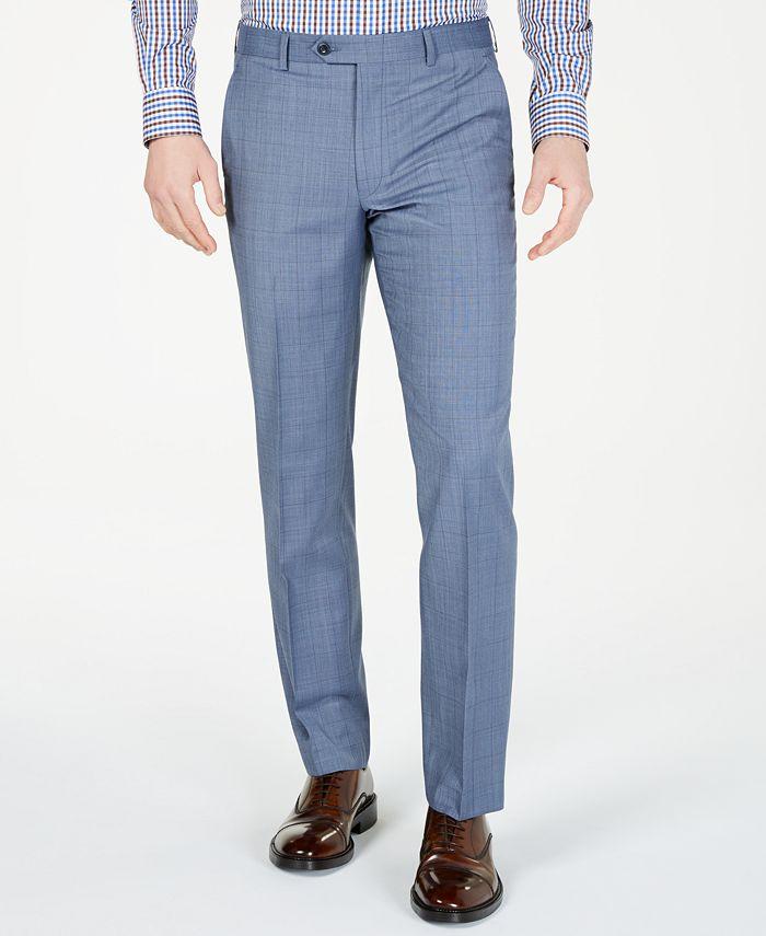 Michael Kors - Men's Classic-Fit Airsoft Stretch Light Blue Windowpane Suit Pants