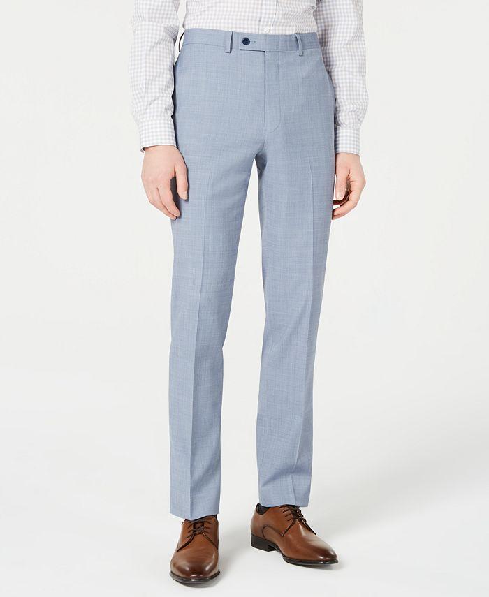Calvin Klein - Men's X-Fit Slim-Fit Light Blue Sharkskin Suit Pants