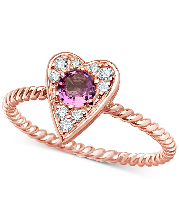 Macy's - Pink Sapphire (3/8 ct. t.w.) & Certified Diamond (1/10 ct. t.w.) Heart Ring in 14k Rose Gold