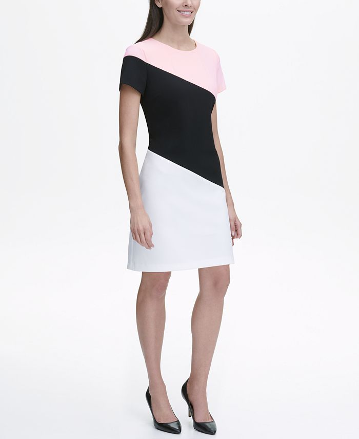 Tommy Hilfiger - Scuba Crepe Diagonal Colorblock Shift Dress