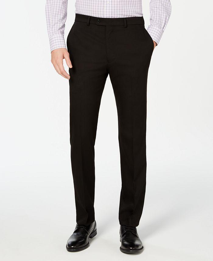 Vince Camuto - Men's Slim-Fit Stretch Wrinkle-Resistant Black Solid Suit Pants