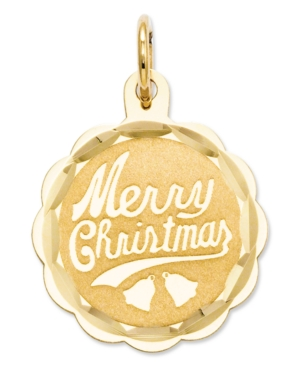 14k Gold Charm, Merry Christmas Charm