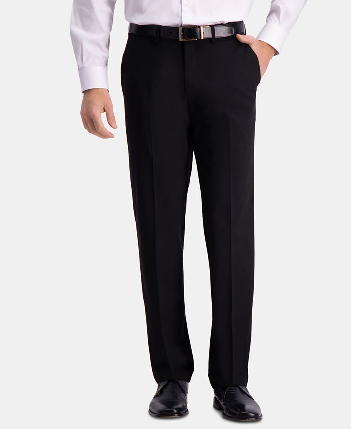 Haggar - Men's Straight-Fit 4-Way Stretch Flat-Front Dress Pants