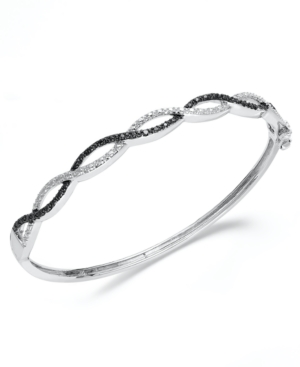 Victoria Townsend Sterling Silver Bracelet, Black and White Diamond Bangle (1/4 ct. t.w.)