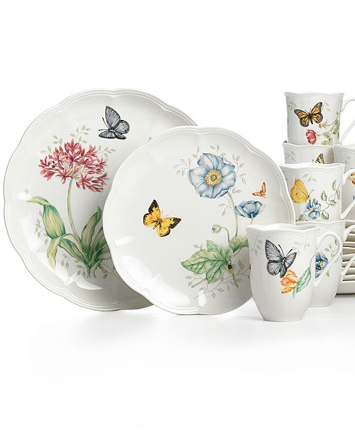 Lenox Butterfly Meadow 18 Piece Set Service For 6 Reviews Dinnerware Dining Macy S