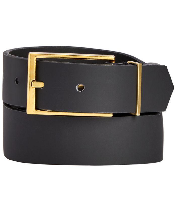 INC International Concepts - Men's Black Matte Gold Buckle Belt